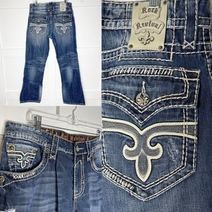 Rock Revival F. Destroyed Ronnie Boot Cut Jeans 34
